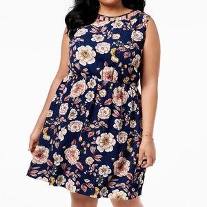 NWT Monteau Trendy Navy Floral Dress 2X
